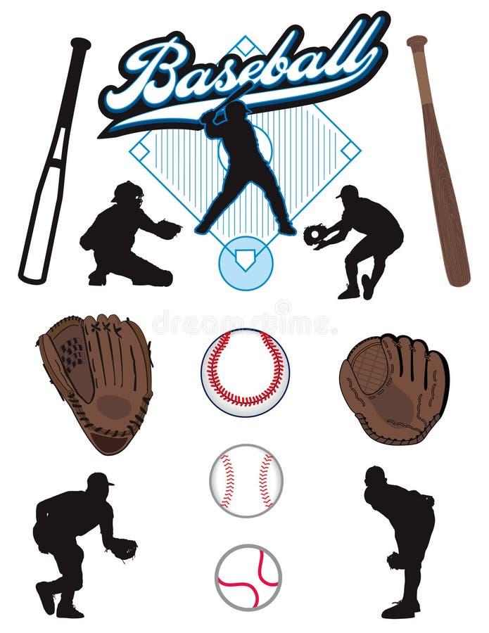 baseballelement royaltyfri illustrationer