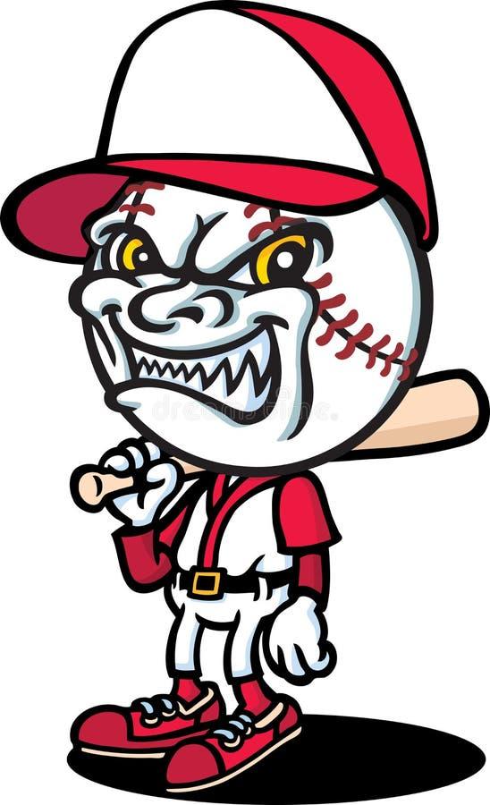 Baseballer malvado stock de ilustración