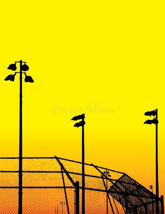 baseballfältsilhouettes vektor illustrationer