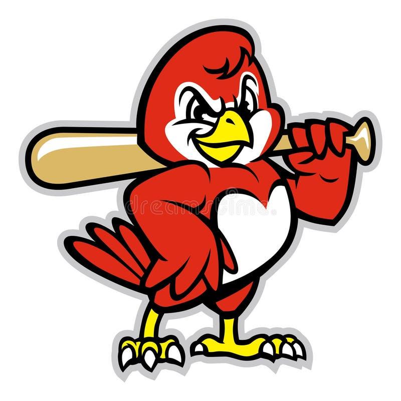 Baseballfågelmaskot stock illustrationer