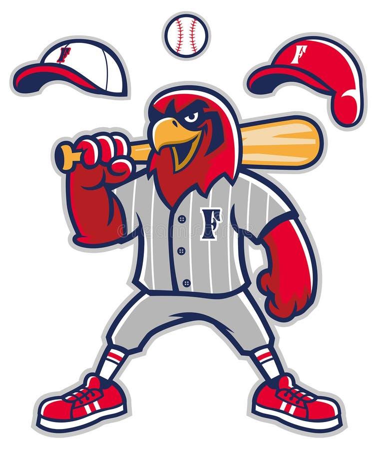 Baseballfalkmaskot vektor illustrationer