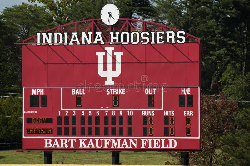 Baseballfeldanzeigetafel Indiana Universitys alte stockfotos