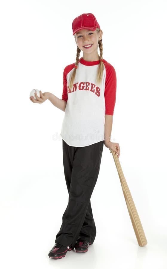 baseballflicka little som är nätt royaltyfria foton