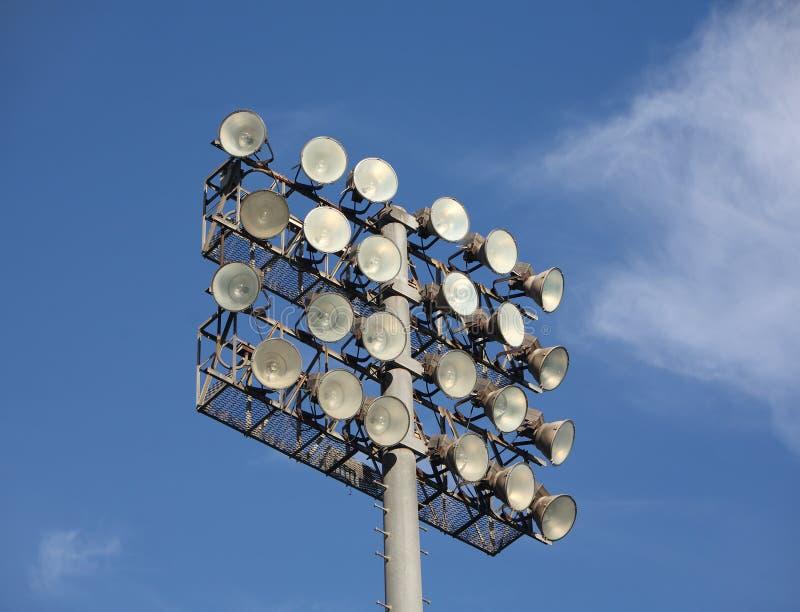 baseballfloodlightsfotboll royaltyfria bilder