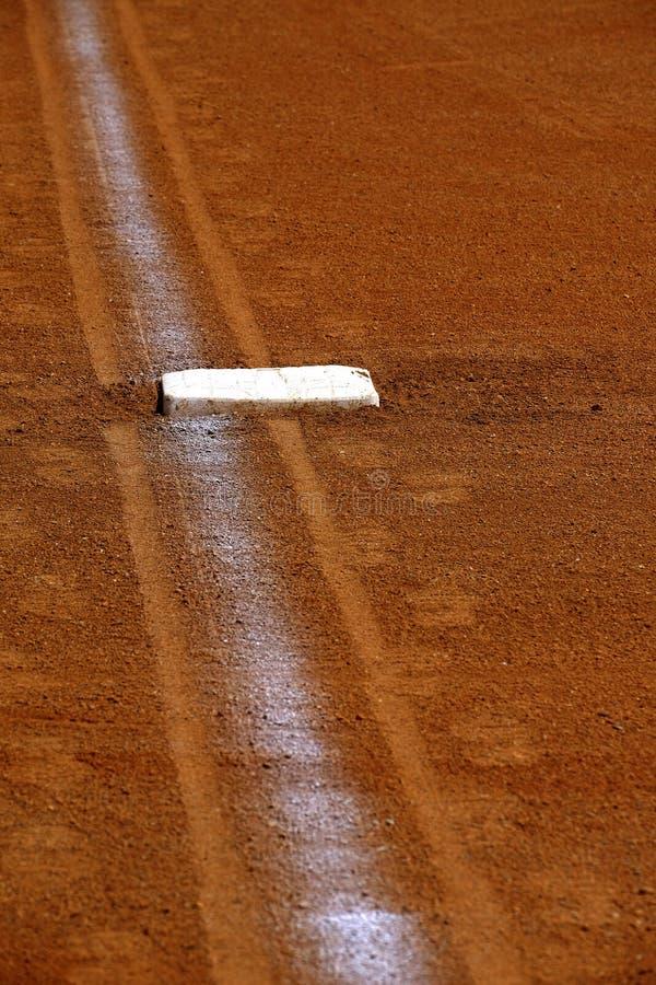 Baseballgrundlinje med grundkritalinjen diamant royaltyfri fotografi
