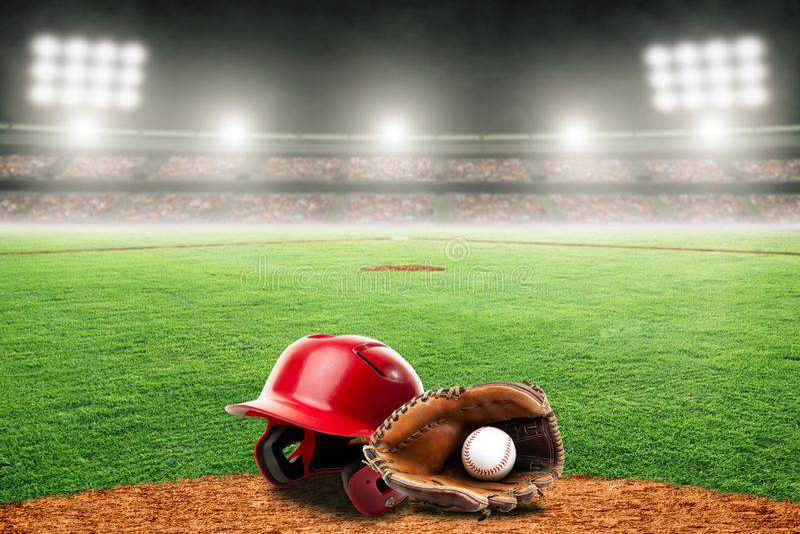 Baseballhandske, boll och hjälm på fält i utomhus- stadion med kopieringsutrymme vektor illustrationer