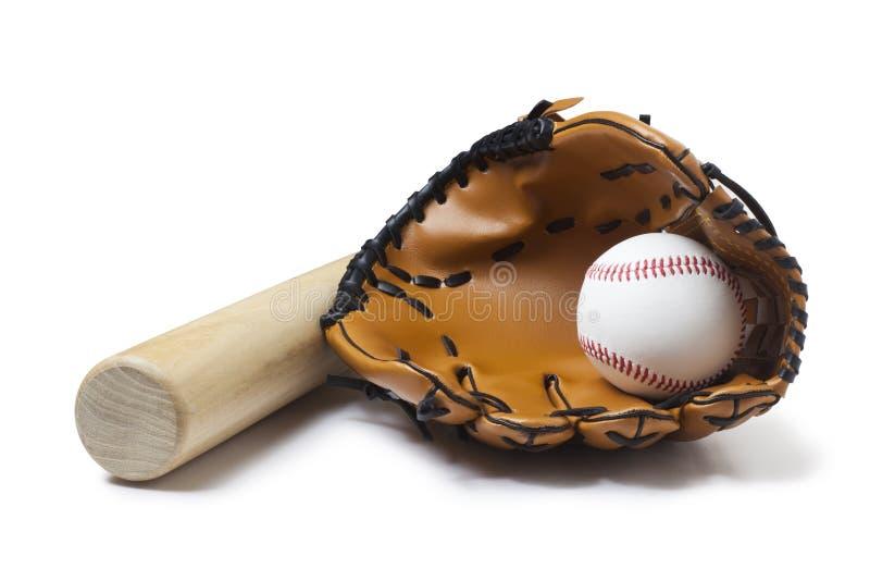 baseballhandske, slagträ och boll arkivbild