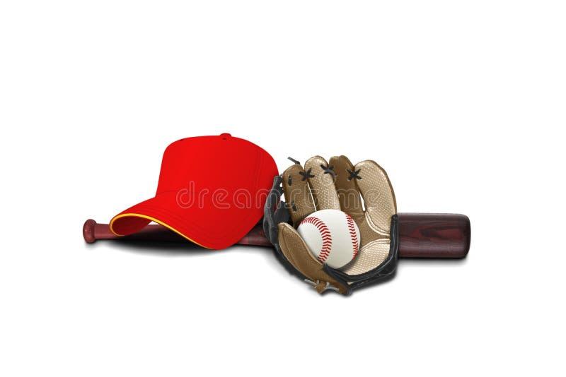Baseballhandsken med locket, klumpa ihop sig och slår till royaltyfria foton