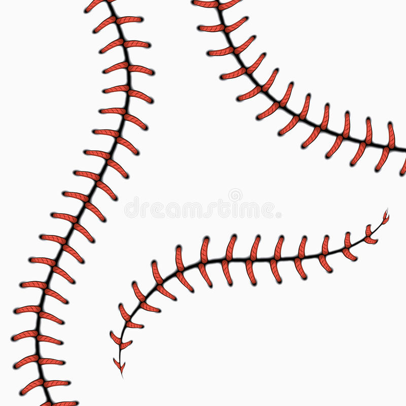 Baseballi ściegi, softball koronki na bielu kreskówki serc biegunowy setu wektor ilustracji