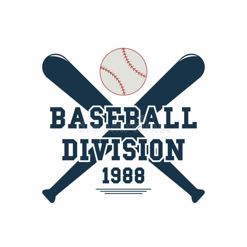 Baseballi kije bejsbolowi i piłka Sporta emblemat Sporta gemowy logo dla turnieju ilustracja wektor