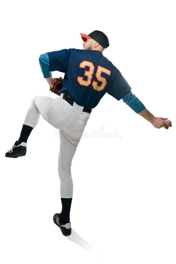 Baseballkanna i handling arkivfoto