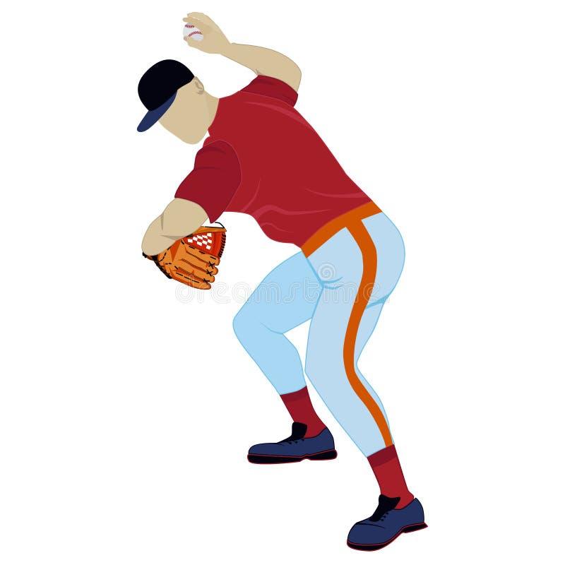 Baseballkanna som kastar illustrationen för bollvektorlägenhet royaltyfri illustrationer