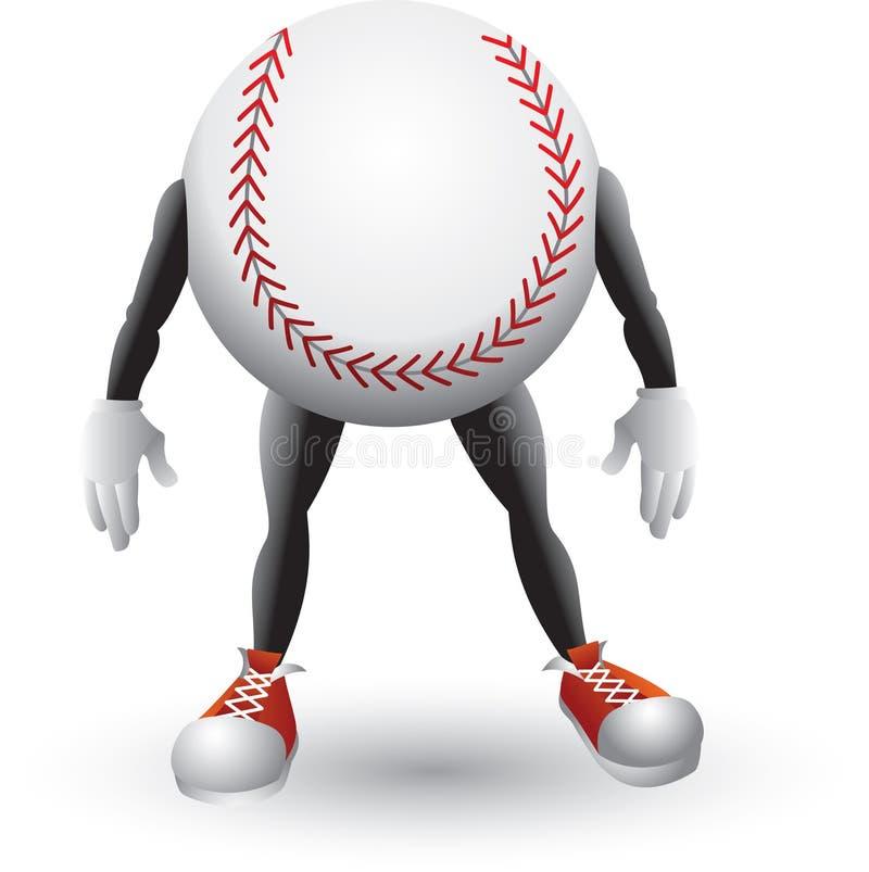Baseballkarikaturmann stock abbildung
