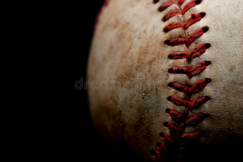 Baseballmakro über Schwarzem lizenzfreie stockbilder