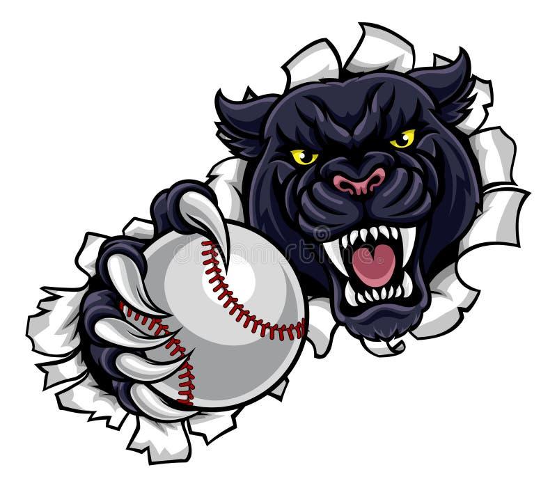 Baseballmaskot för svart panter som bryter bakgrund royaltyfri illustrationer