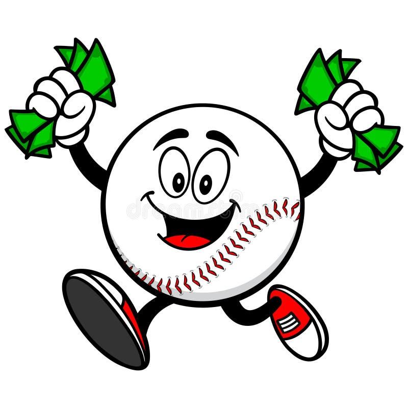 Baseballmaskot med pengar royaltyfri illustrationer