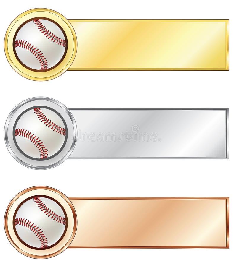 baseballmedaljer royaltyfri illustrationer
