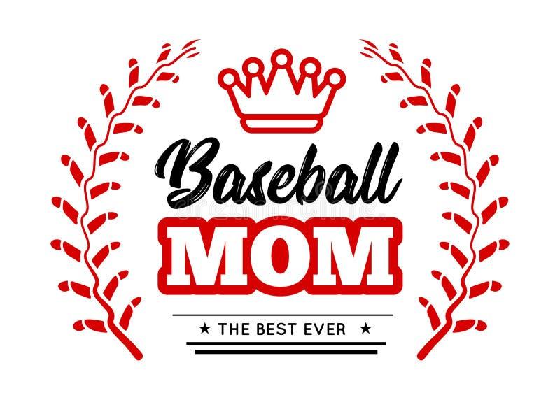 Baseballmutteremblem mit Kranz-ähnlichem Schnüren des Baseballs und eine Königkrone auf weißem Hintergrund Vektor stock abbildung