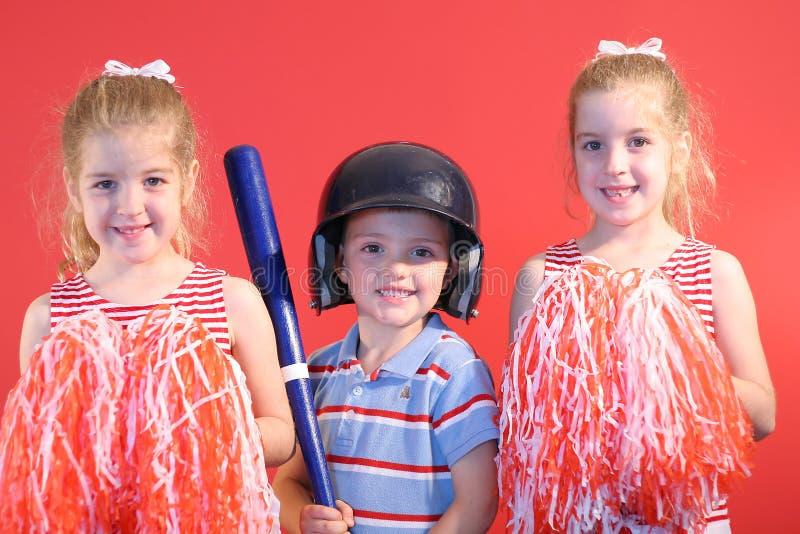 baseballpojkehejaklacksledarear royaltyfri fotografi