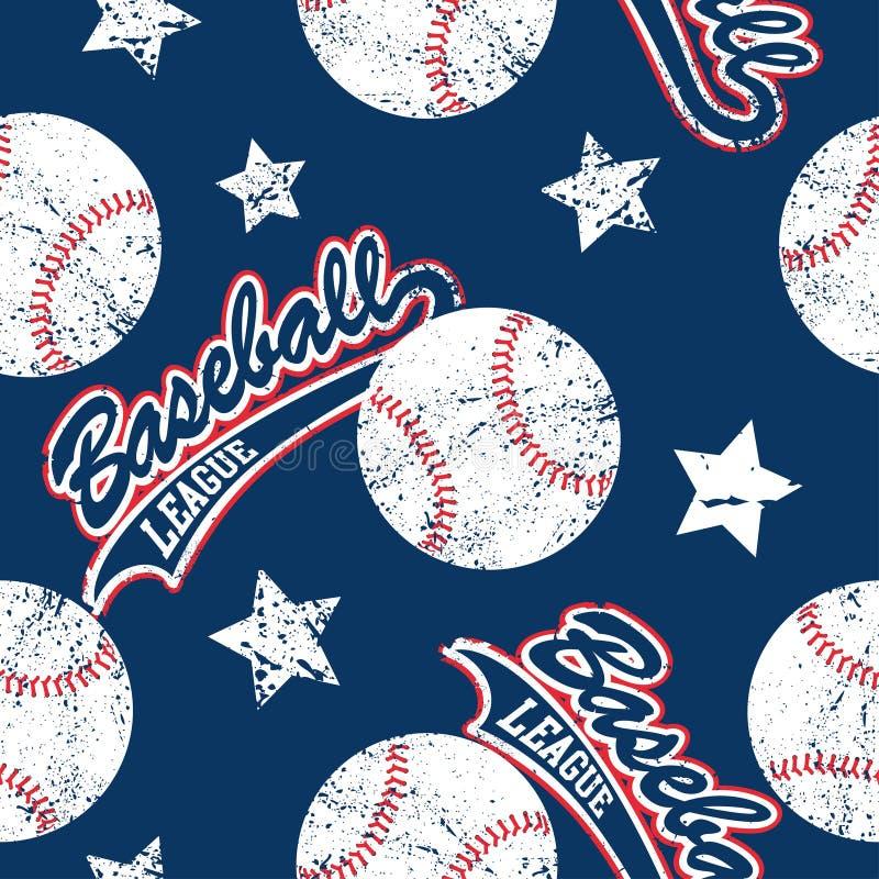 Baseballs και άνευ ραφής σχέδιο αστεριών διανυσματική απεικόνιση