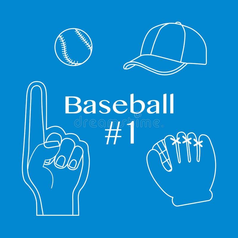 Baseballskumfinger, boll, lock, handske Sport fan royaltyfri illustrationer