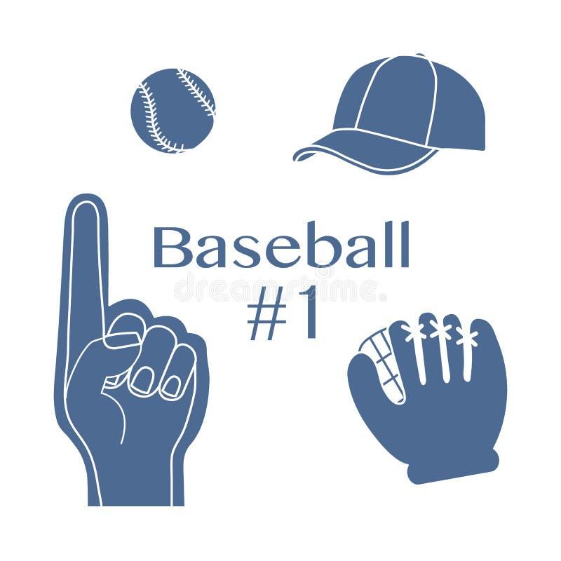 Baseballskumfinger, boll, lock, handske Sport fan vektor illustrationer