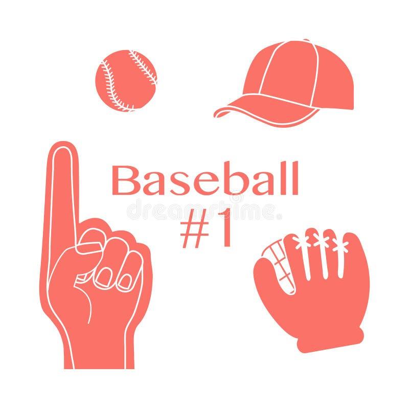 Baseballskumfinger, boll, lock, handske Sport fan stock illustrationer