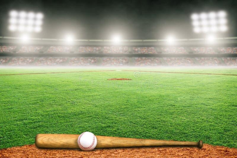 Baseballslagträ och boll på fält i utomhus- stadion med kopieringsutrymme royaltyfri illustrationer