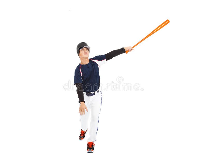 Baseballsmet som slår bollen med slagträet royaltyfri foto