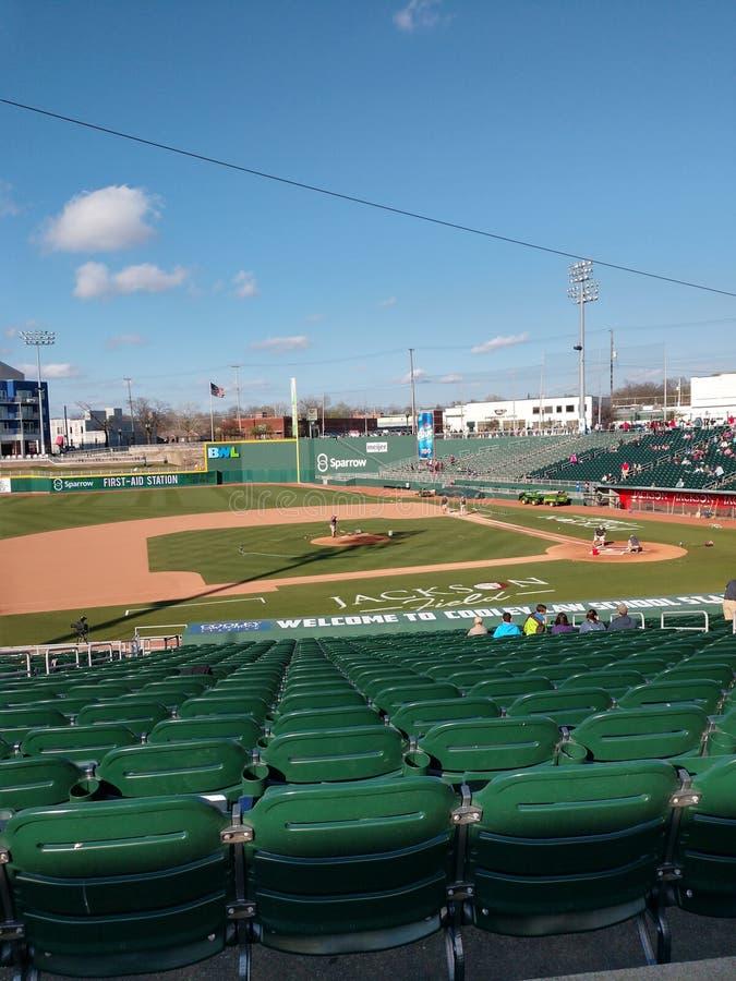 Baseballspiel für Lansing Michigan Lugnuts lizenzfreies stockfoto