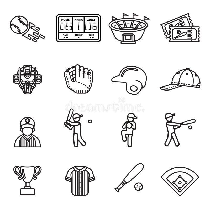 Baseballsymbolsuppsättning stock illustrationer