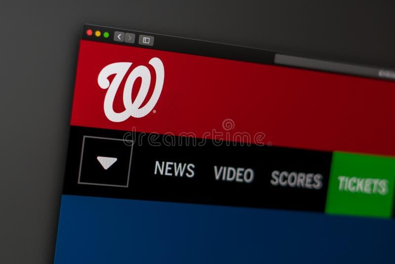 Baseballteam Washington Nationals-Websitehomepage Schlie?en Sie oben vom Teamlogo lizenzfreies stockbild