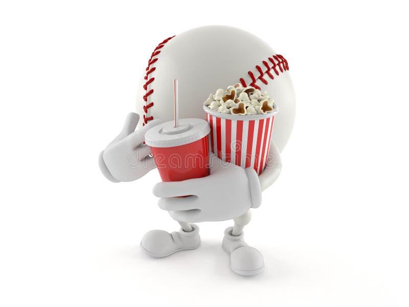 Baseballtecken som rymmer popcorn och sodavatten vektor illustrationer
