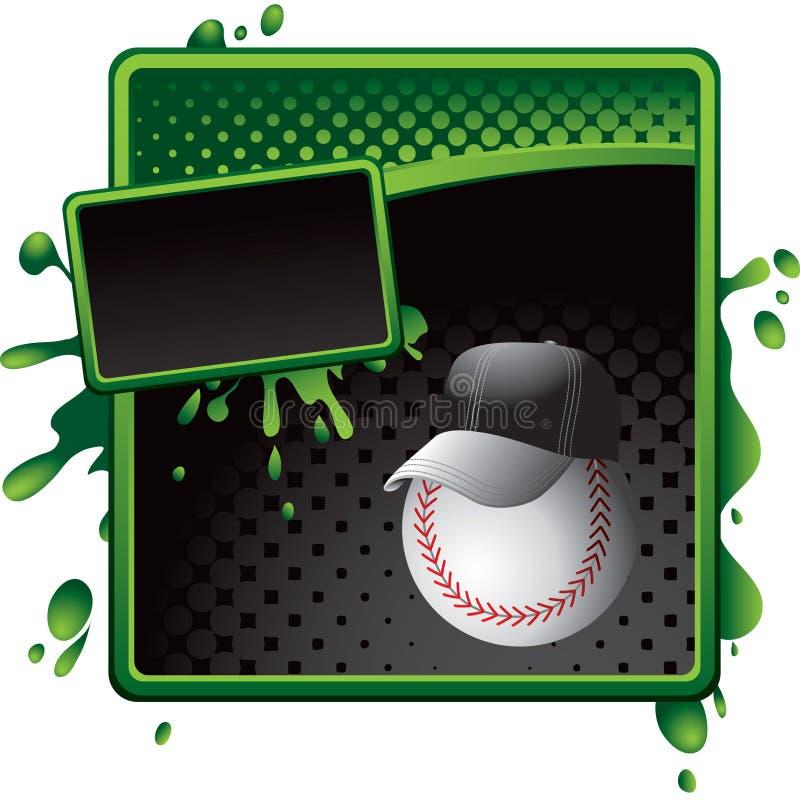 Baseballtrainer auf grüner und schwarzer Halbtonfahne vektor abbildung