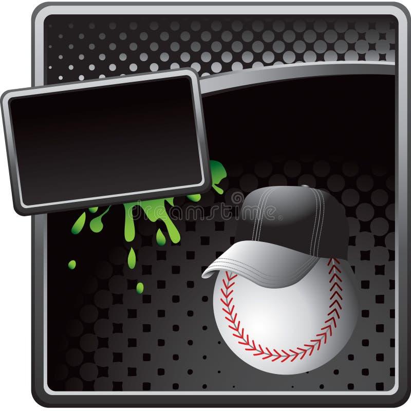 Baseballtrainer auf schwarzer Halbtonreklameanzeige lizenzfreie abbildung