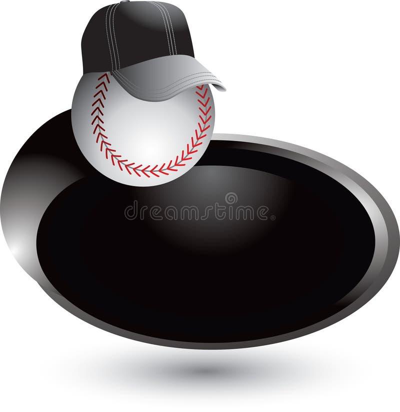 Baseballtrainer auf silbernem swoosh lizenzfreie abbildung