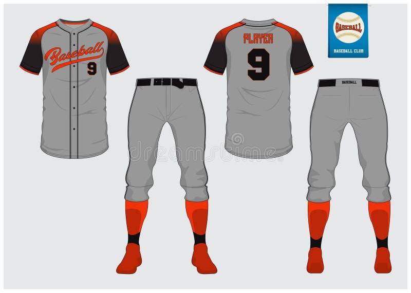 Baseballuniform, Sporttrikot, T-Shirt Sport, Kurzschluss, Sockenschablone Baseballt-shirt Spott oben Vordere und hintere Ansichts lizenzfreie abbildung