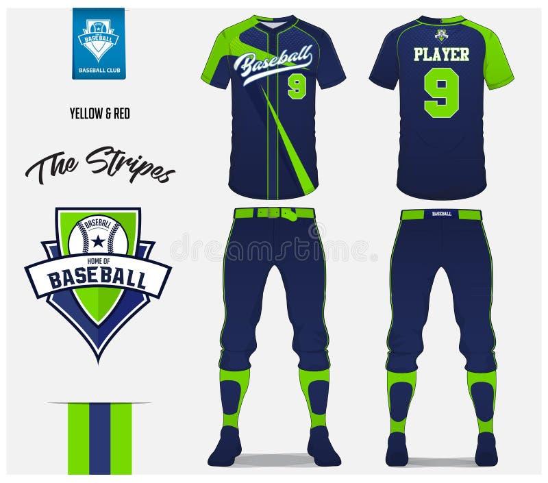 Baseballuniform, Sporttrikot, T-Shirt Sport, Kurzschluss, Sockenschablone Baseballt-shirt Spott oben Vordere und hintere Ansichts vektor abbildung