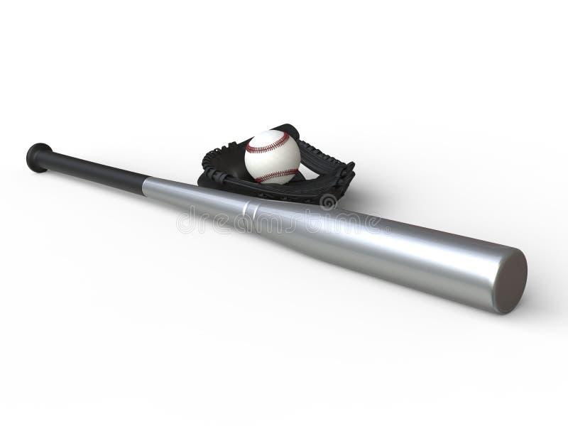 Baseballutrustning - metalliskt slagträ - svart handske royaltyfri fotografi