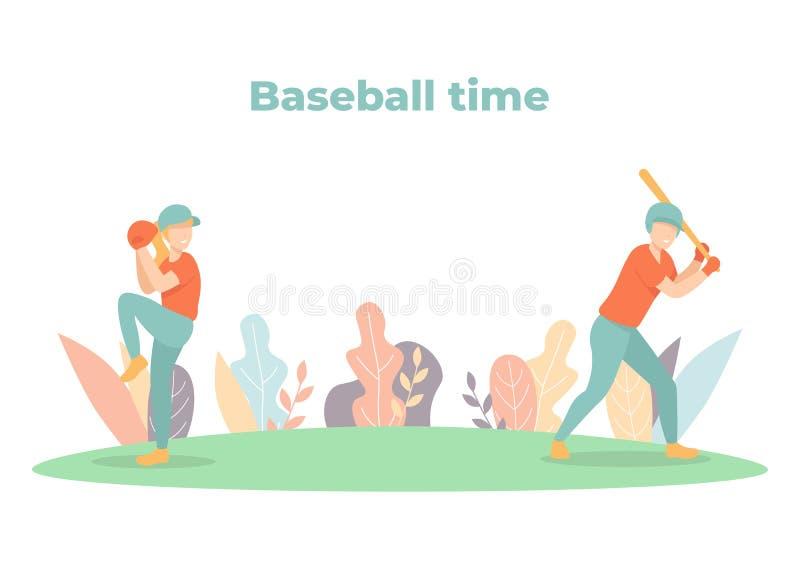 Baseballzeit, Spieler auf Gericht stock abbildung