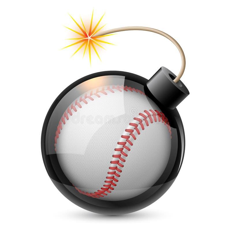 Basebol abstrato dado forma como uma bomba ilustração royalty free