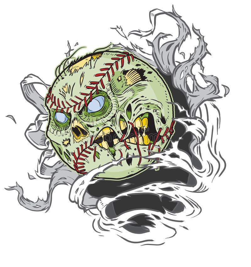 Basebol do zombi que rasga-se fora do fundo ilustração royalty free