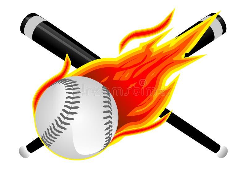Basebol nas chamas ilustração do vetor