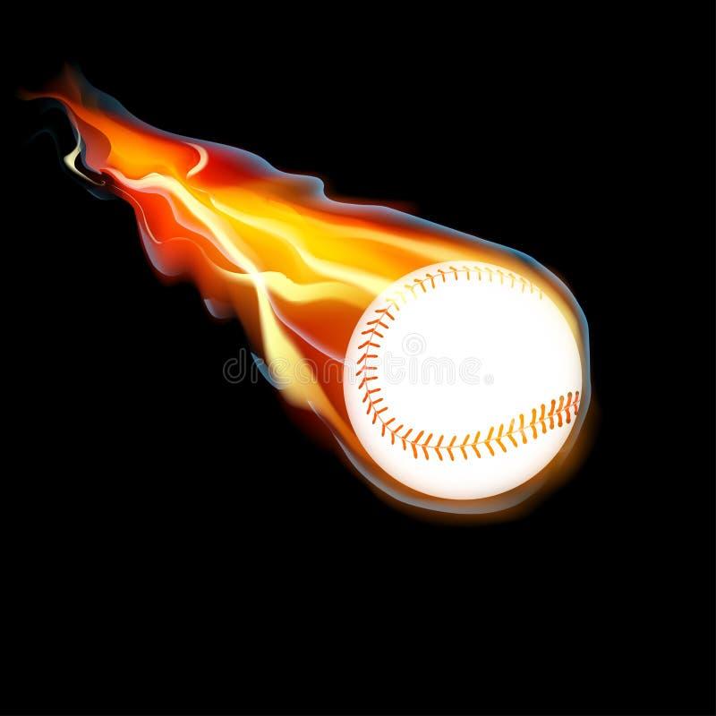 Basebol no fogo ilustração do vetor