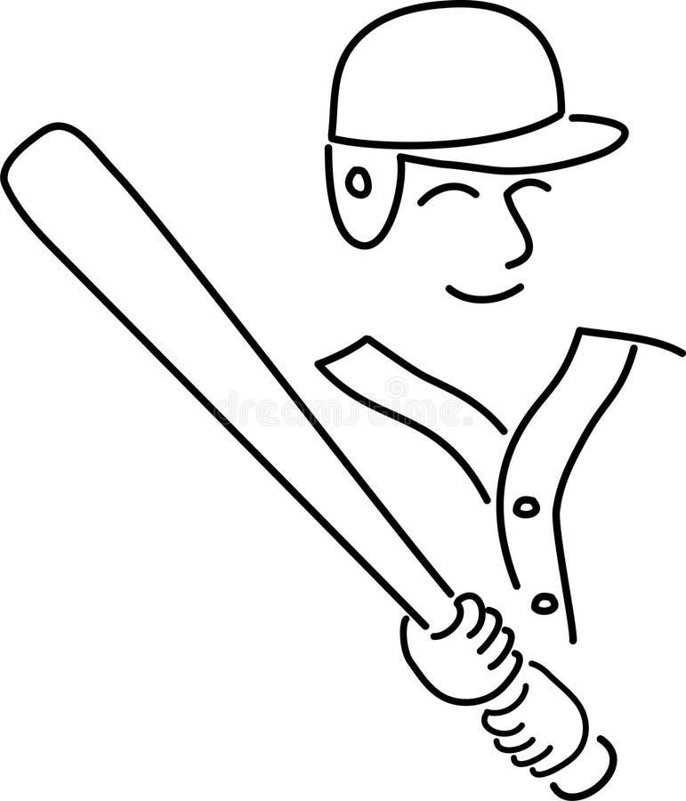 Basebol Player/ai dos desenhos animados ilustração royalty free