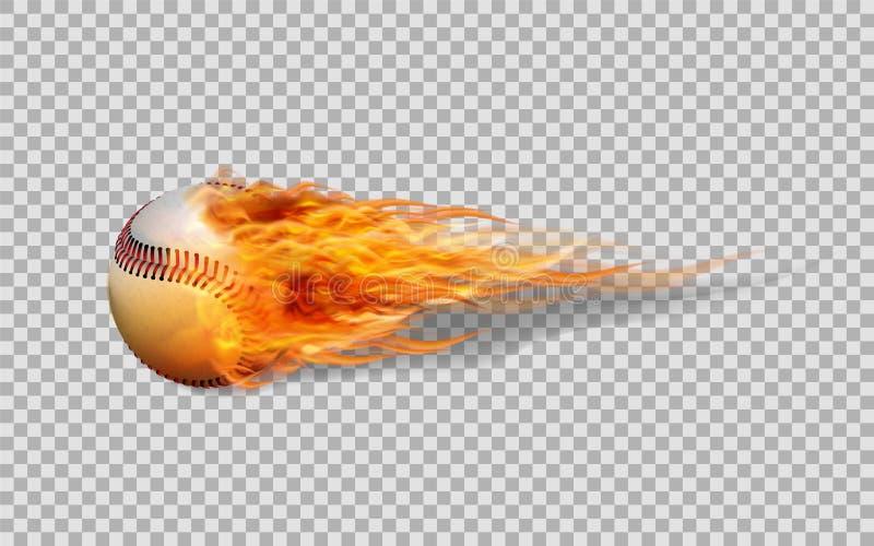 Basebol realístico do vetor no fogo ilustração royalty free