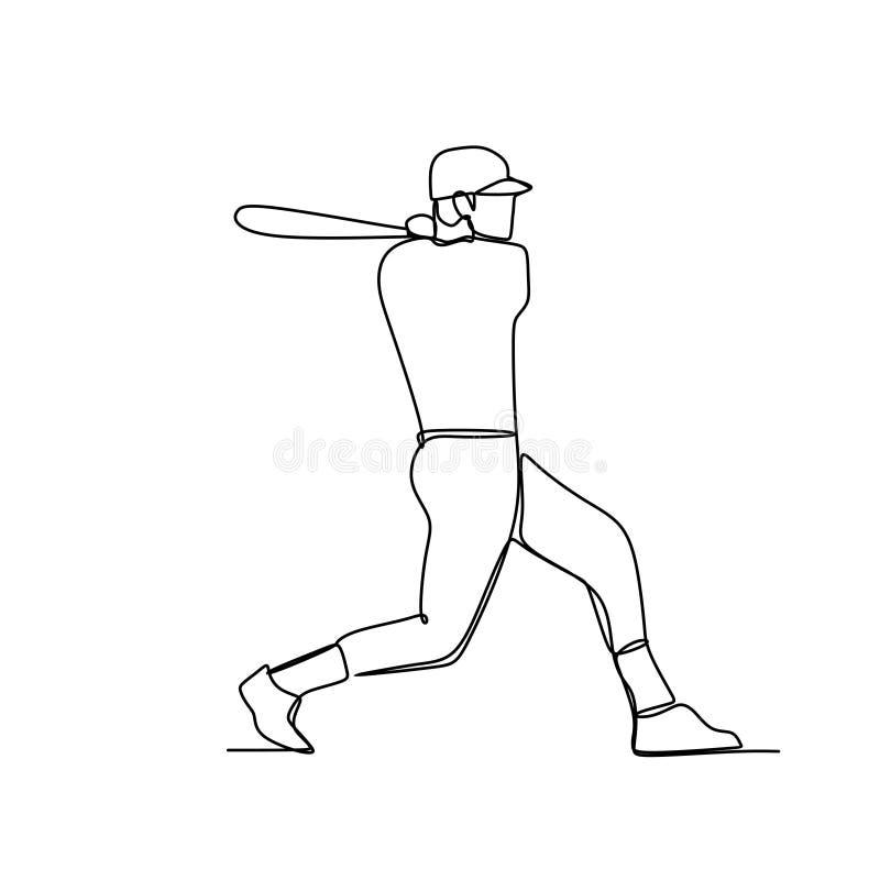 Basebollspelare hitter som svänger med slagträet, en linje teckningsvektorillustration royaltyfri illustrationer