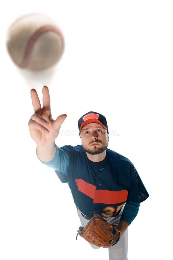 Basebollspelare som gör en grad royaltyfri bild