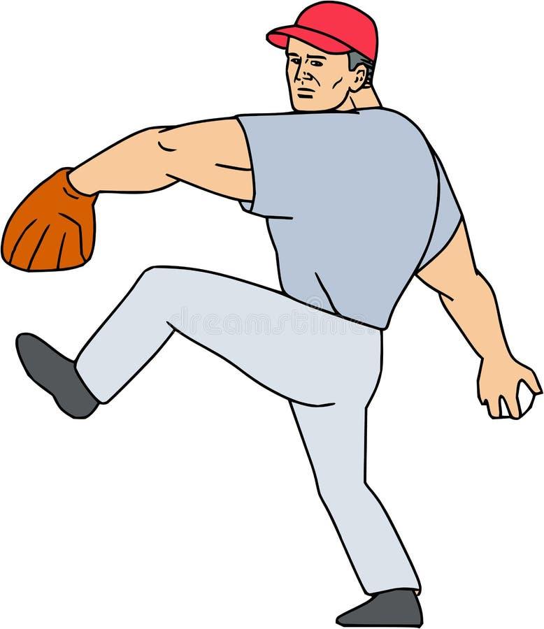 Basebollspelarekanna som är klar att kasta bolltecknade filmen royaltyfri illustrationer