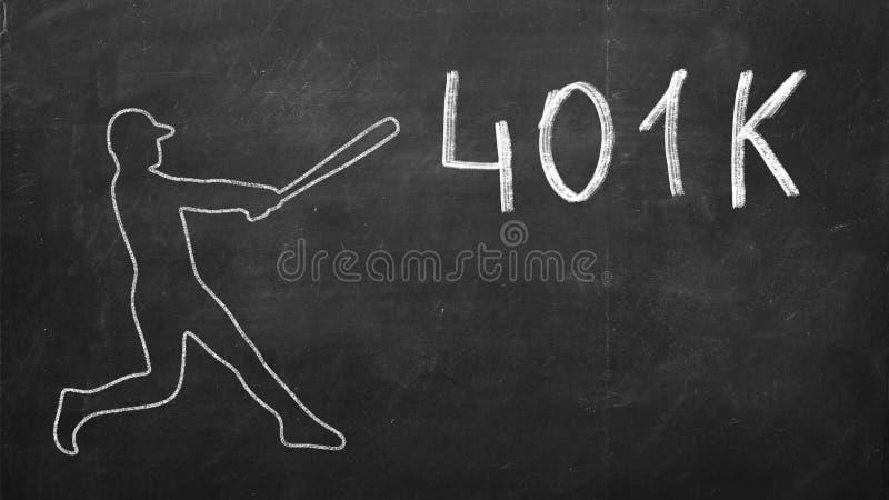 Basebollspelaren slår ordet 401K Pengarbegreppsavgång arkivbilder